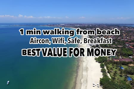 100M from Jimbaran Beach / Aircon, Wifi, Bfast - A - South Kuta