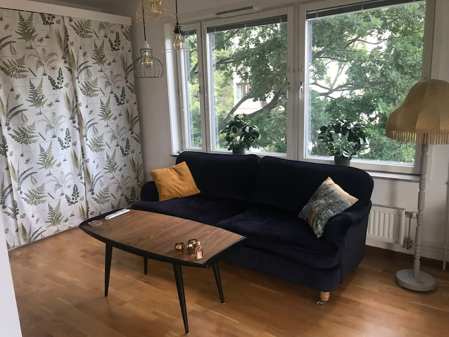 Living room - a cosy, sunny area with a tele and a comfy couch, that provides sleeping space for one person. There is enough room in the area to place the air madras if wished so.