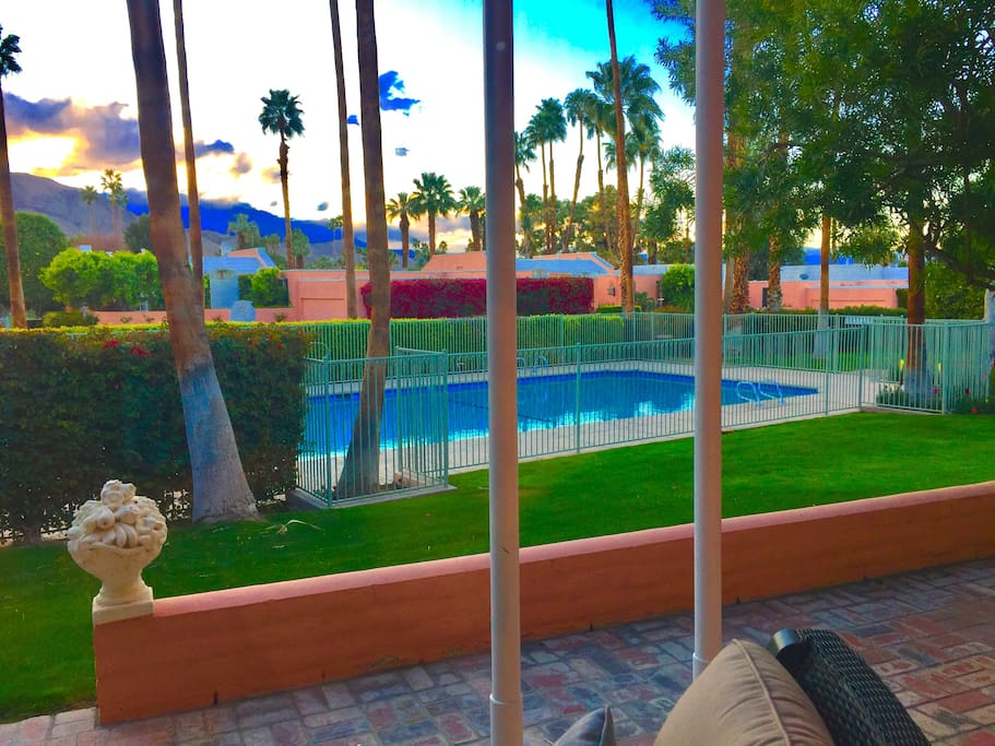 Our pool is only 50' away with tables/chairs & lounges. Close but very quiet.
