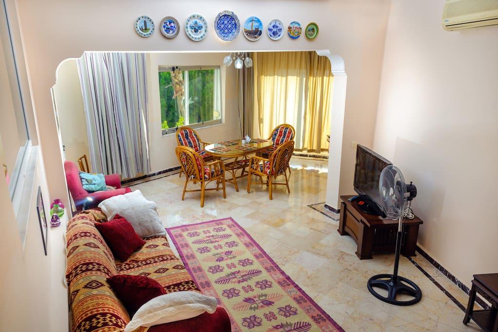 Просторная гостиная  с зоной столовой с великолепным видом на море.