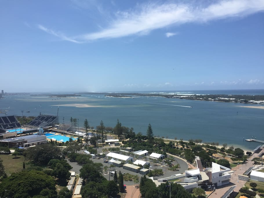 View North-East of Southport Broadwater & Pacific Ocean.