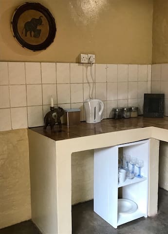 Kitchenette with fridge, tea and coffee. Continental breakfast on request.
