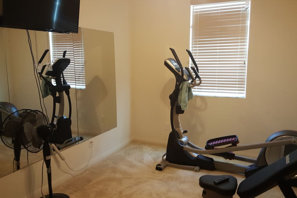 This is the gym. There is other equipment not shown in the photo. There are mirrors and a television that connected to Netflix, HBO, and more.