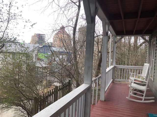 Private porch overlooks downtown and is a 5 minute walk