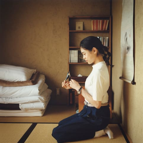 Single room with Tatami mats/ books&vintage