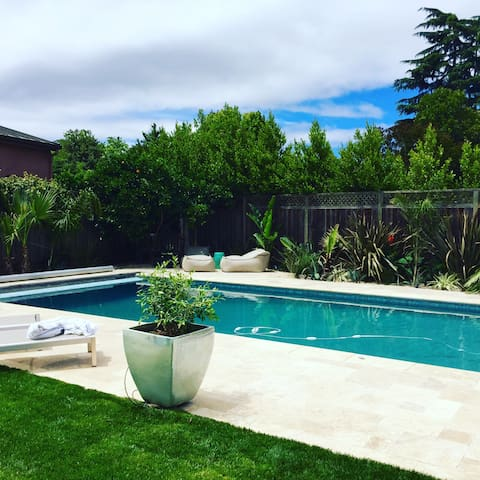 Beautiful house walk to Palo Alto w/pool+hot tub