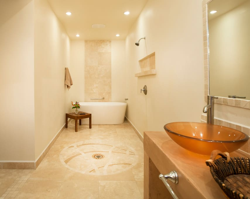 Spa style bath with walk-in shower