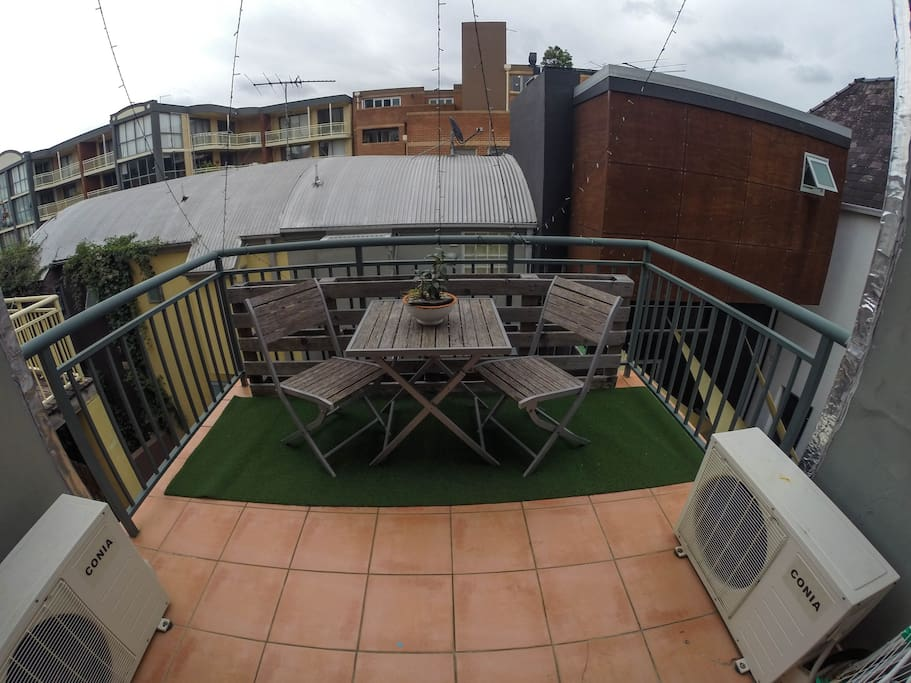 Private Sunny Balcony. Astro Turf. Outdoor Setting