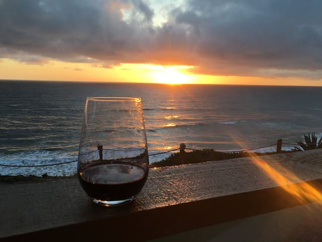 Enjoy sunsets with a glass of wine!