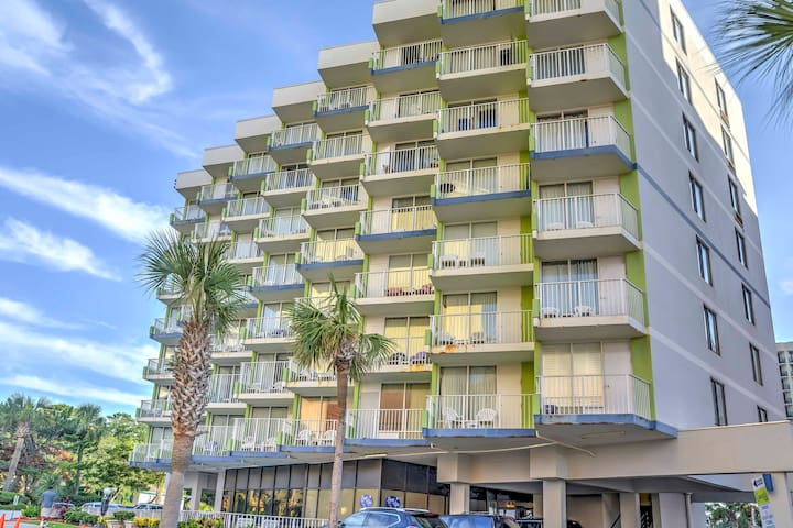 This Myrtle Beach condo is located in the Caravelle Resort on the beach.