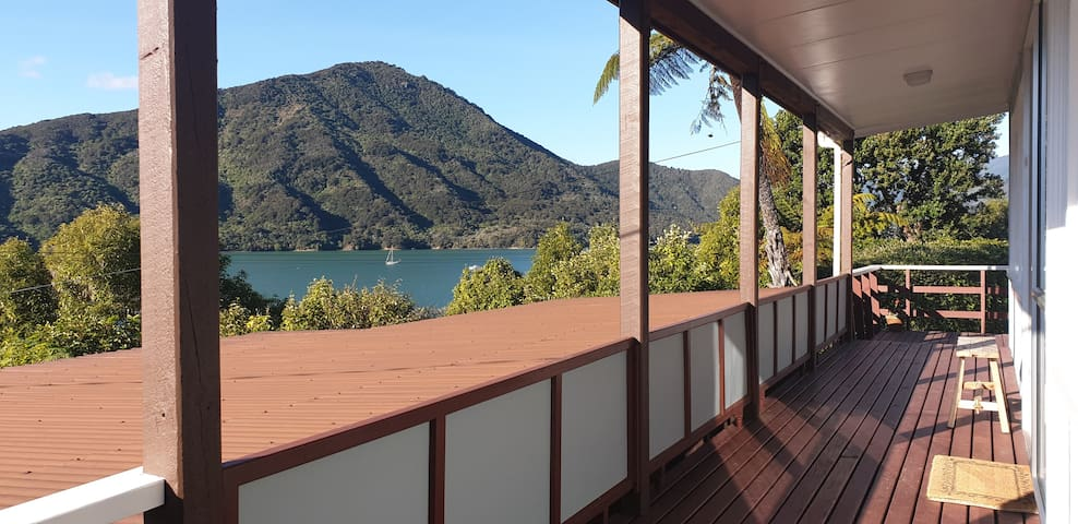 Fully covered balcony with expansive views, sit outside anytime and listen to the birds and gaze out over Mahau Sound.