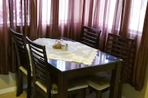 Dinner table in kitchen.