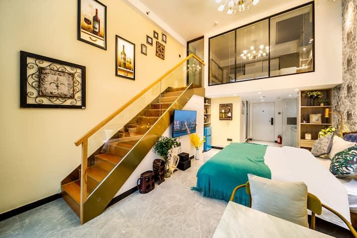【维亚-梵蒂】loft北欧风城景双床房、落地窗、楼下太平街、文和友、五一广场、国金中心、地铁口