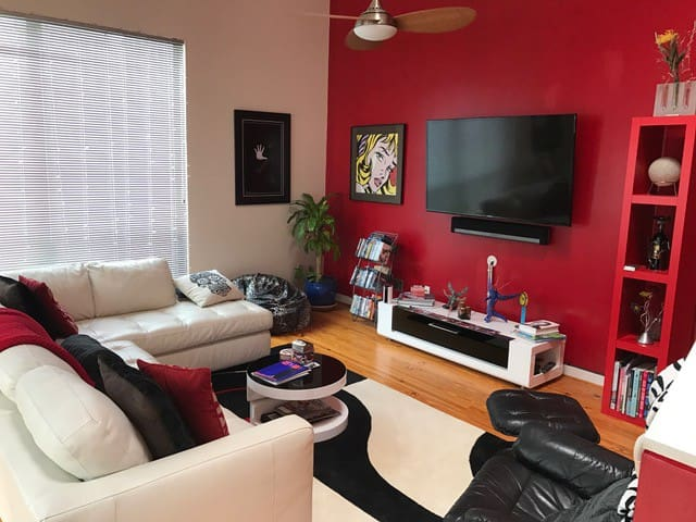 """Living Room with 60"""" TV & Surround sound"""