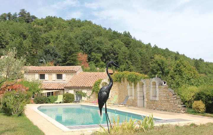 Awesome home in Chateauneuf de Mazenc with WiFi, Outdoor swimming pool and 4 Bedrooms