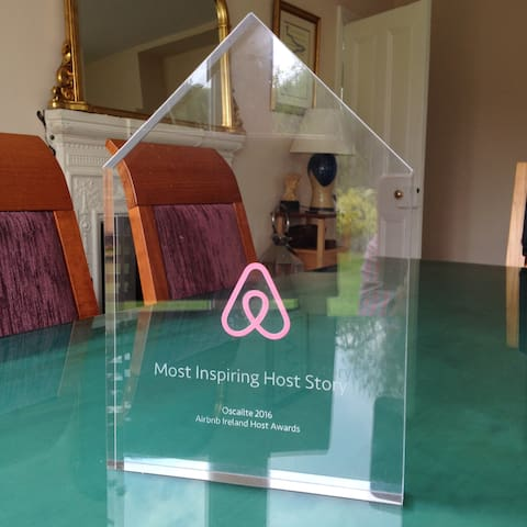 Awarded Most Inspiring Irish Hosts by Airbnb Ireland, May 2016