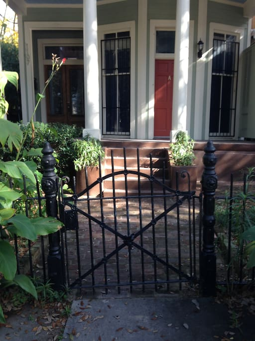 Beautiful, ornate wrought iron gate and fencing welcome you to the Napoleon.
