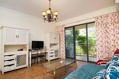 三亚湾韩式园景温馨两室两厅家庭套房 可住6人 步行海边5分钟 - Lägenhet