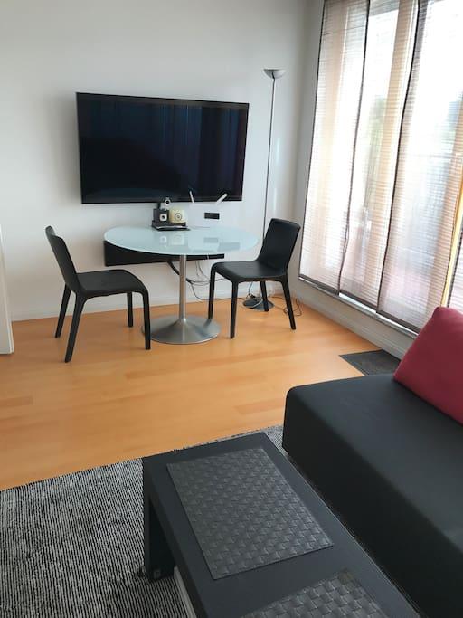 Essplatz und TV, 2 Sofas und Teppich