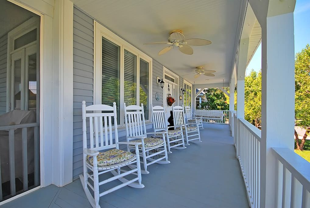 Terrific Lowcountry porch with swing