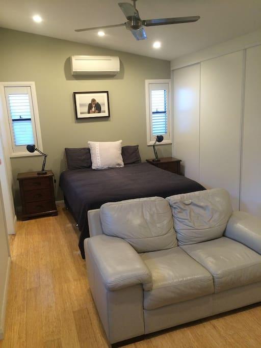 Studio bedroom with built in robes