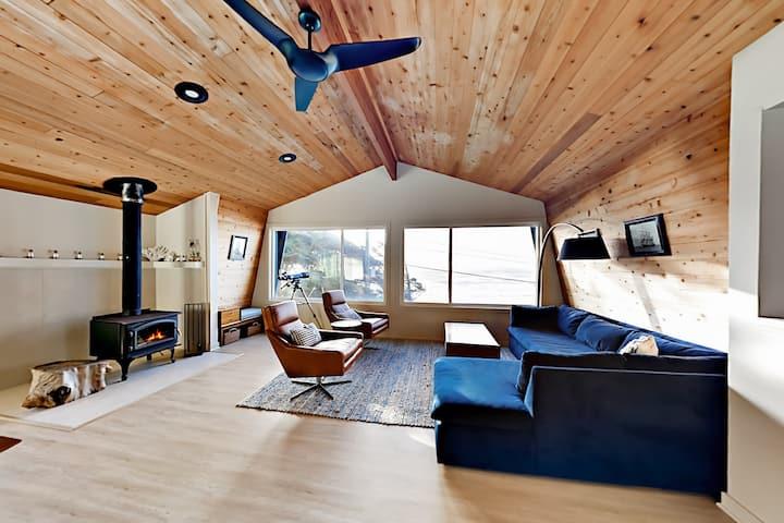 Modern Beachside Hideaway with Decks & Fireplace