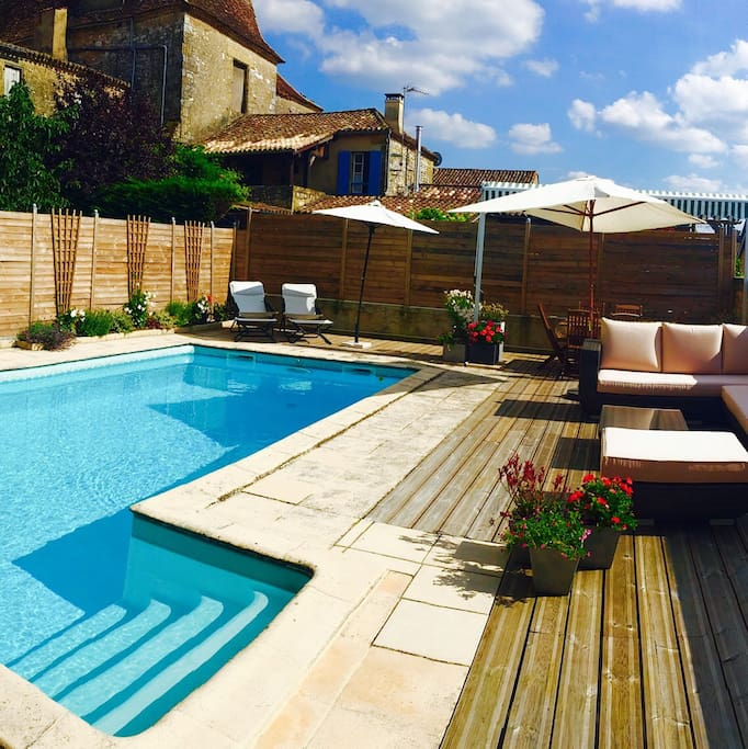 Pool and terrace. In full sun throughout the day but shade is available in great supply