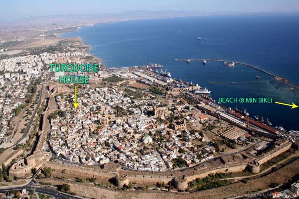 View of the Walled City and coastline with Turquoise House marked
