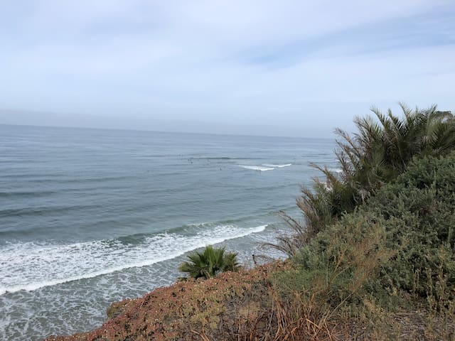 The Carlsbad surf is a mile away by foot or vehicle.