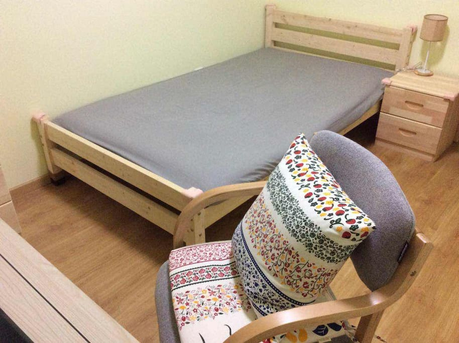 Wooden bed,  chair, table, etc.