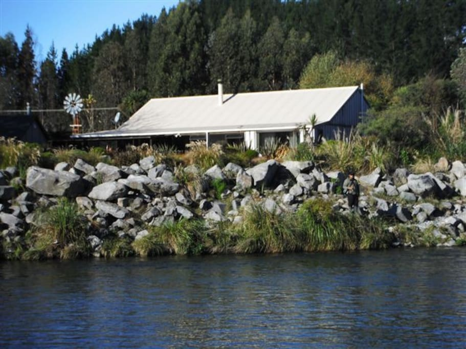 "The Tongariro River        alongside ""Riverside B & B"""