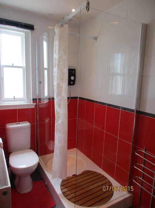 Downstairs bathroom with heated floor.