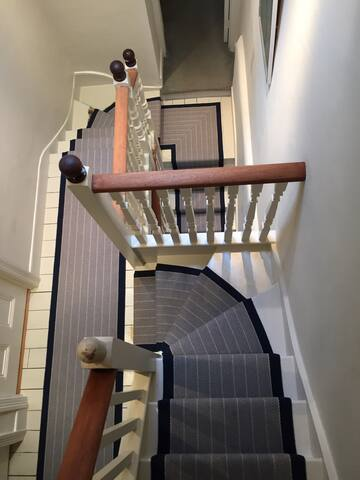 Freshly laid carpet for the stairs
