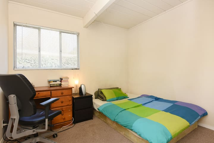 Bed, window, chair, desk, ceiling