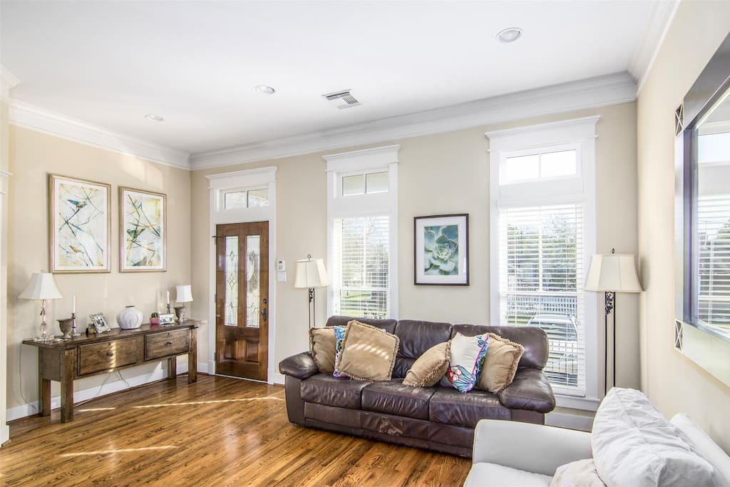 Open Formal Living Room. Do not worry about spills, no carpets...all wood flooring!