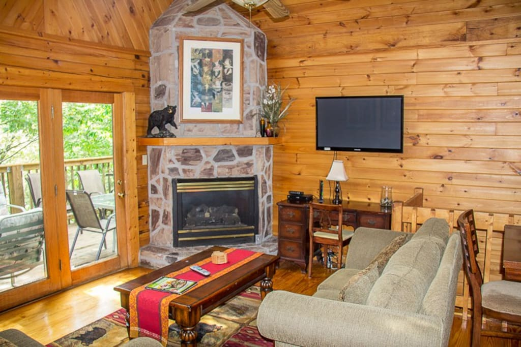 Mountain stone fireplace in living area