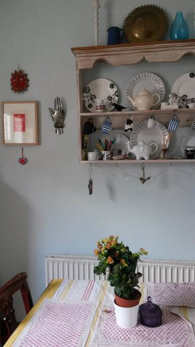 Dining area in bright sunny kitchen