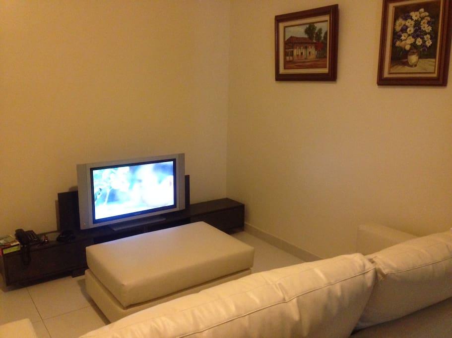 Ambiente aconchegante com tv e sofá.