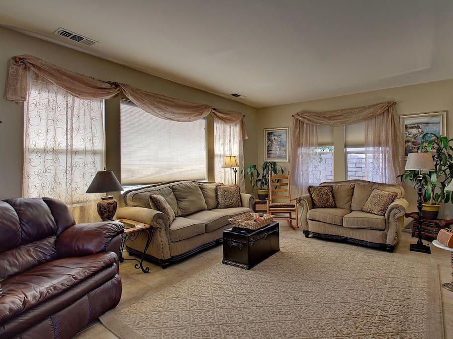 """Living area with 50"""" TV, fireplace, 2 new recliners"""