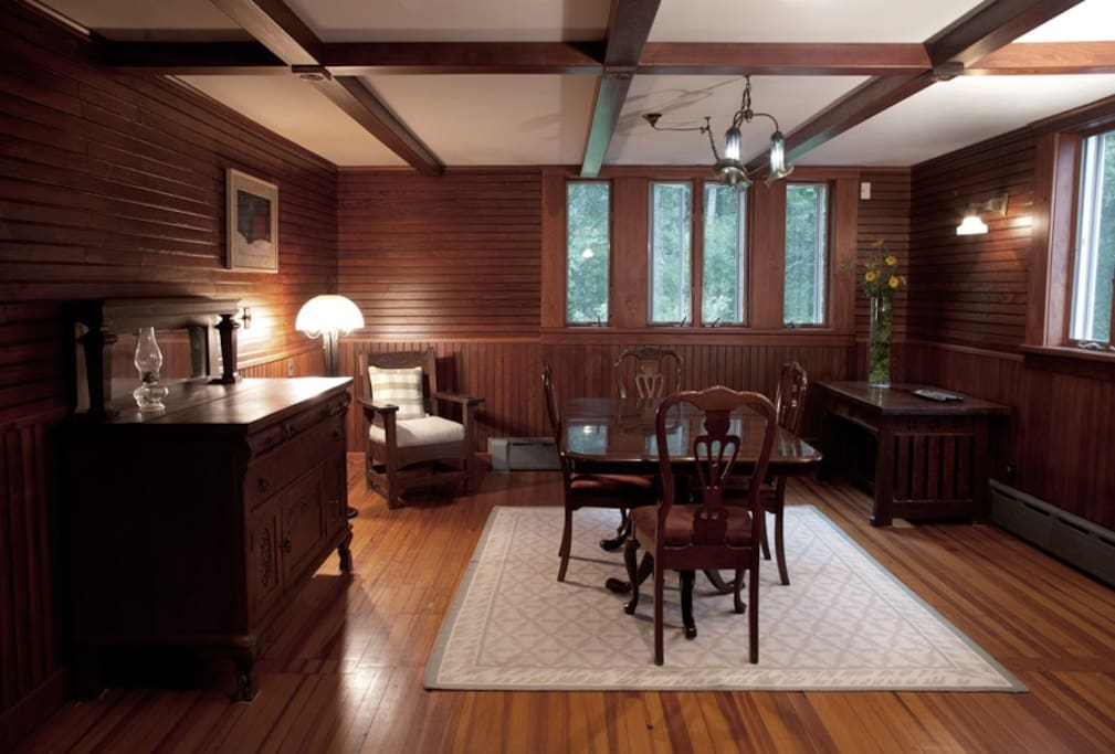 Dining Room / Living Room with Oak Paneling