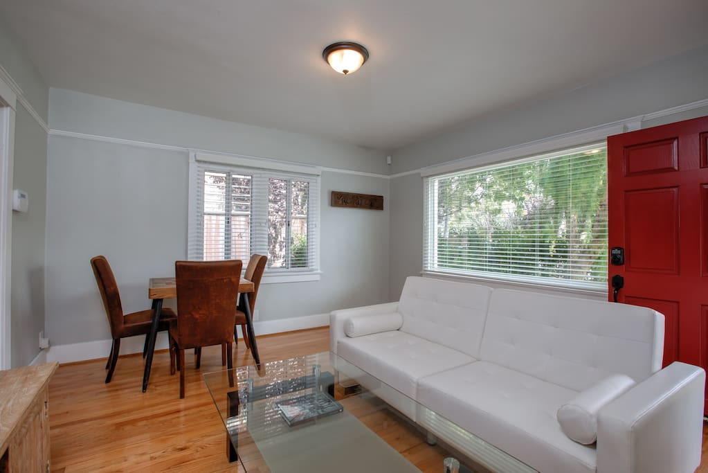 Bright, white, beautifully serene. No clutter. Picture window fronts the living room with lots of light.