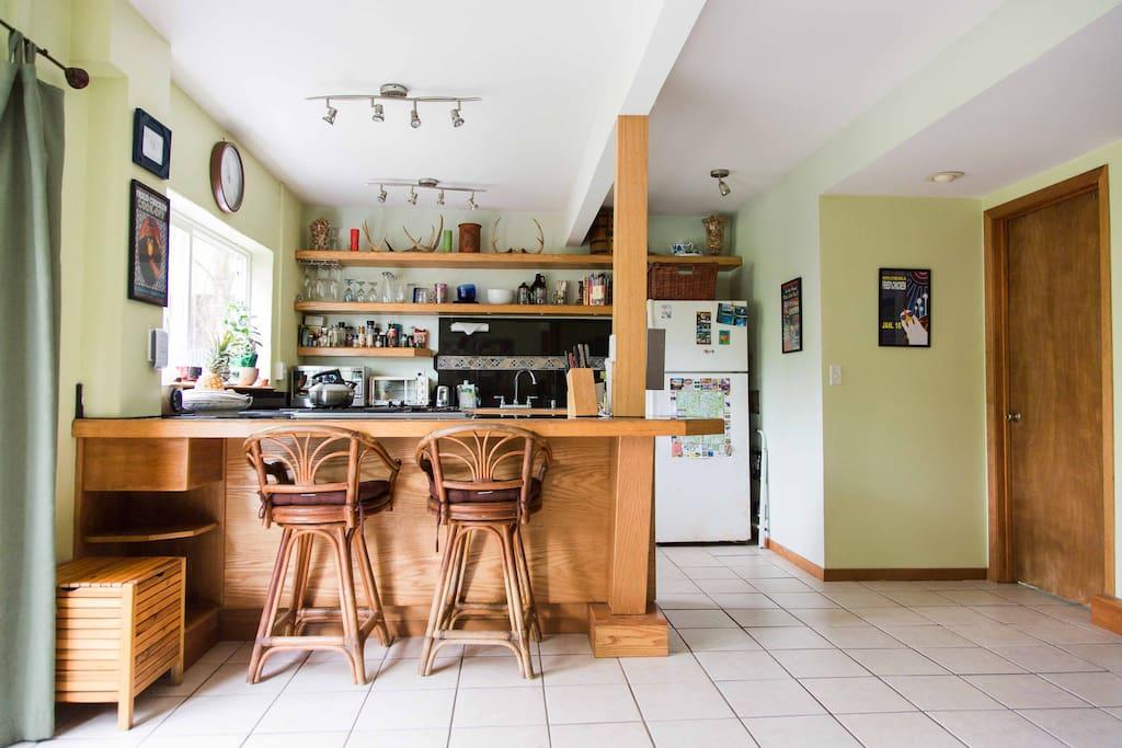 seating at kitchen counter