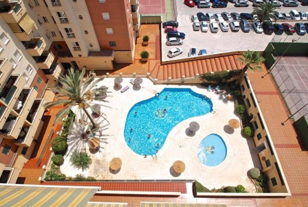 Pool area from balcony