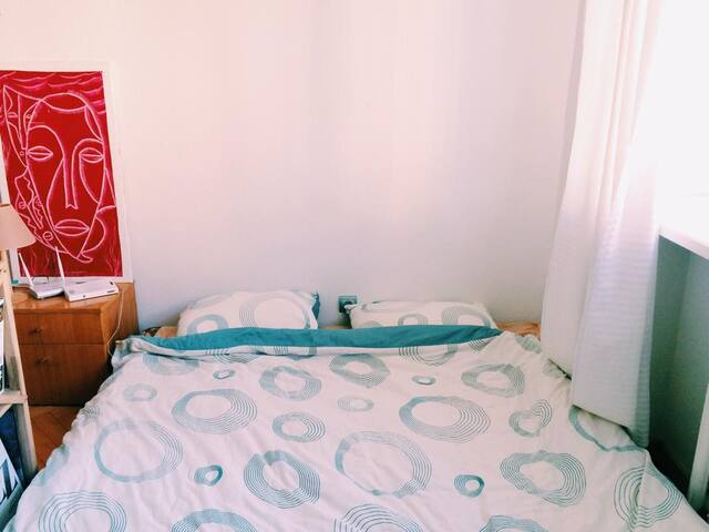 Bed 1,80mx2m. Perfect size. (separate blanket can be provided) + towels.