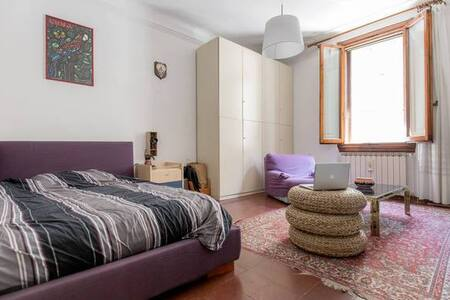 The apartment is located 10 minutes away from the center, ground floor apartment with garden, a gazebo and a barbecue. The bedroom is comfortable and spacious, queen size bed and an armchair, as well as 32 inch LED TV with cable to connect your mac laptop. There is also a bright window, the walls are thick, in a breezy environment. The apartment is located close to bus number 28, Tram and train station Firenze statuto (150m). Within 50 meters you can find supermarket, pharmacy and pizzeria.