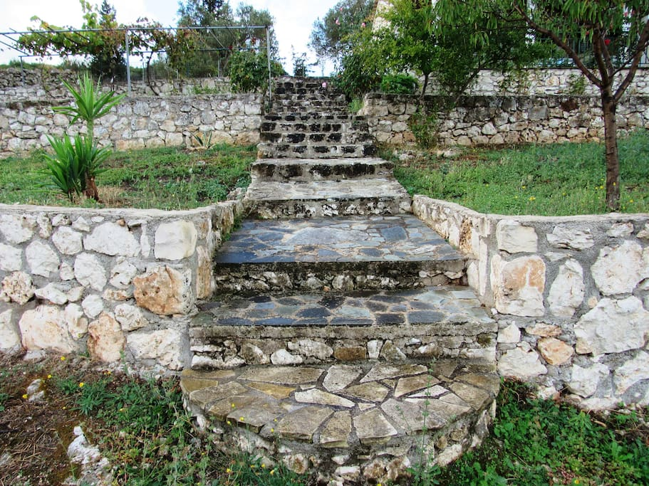 The stone pavement which leads to the villa