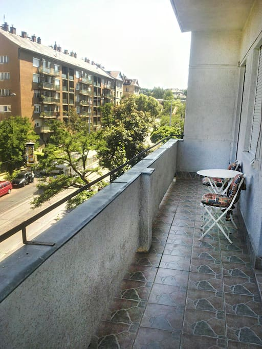 12m long balcony direct contact with the bedrooms.