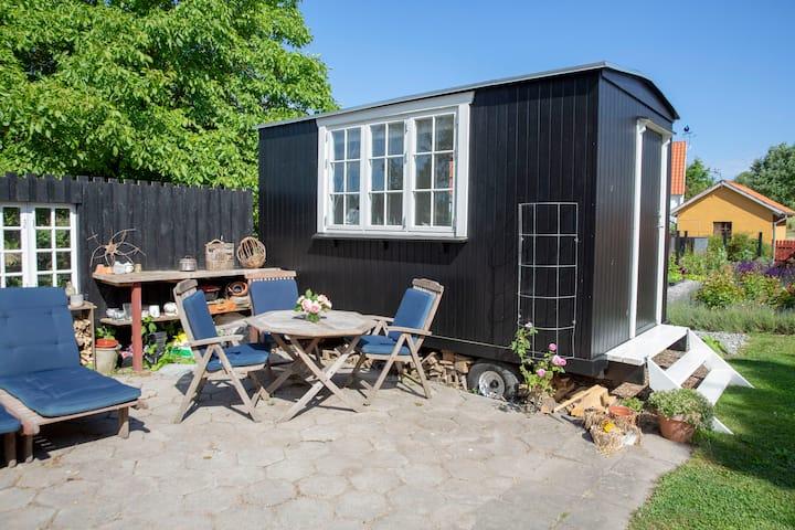 Hyggelig skurvogn i have, B&B, Samsø