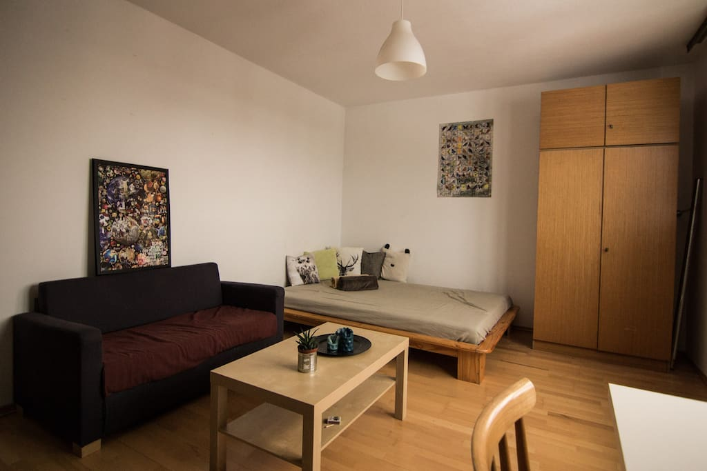 The room is furnished with a large bed, a sofa and a closet