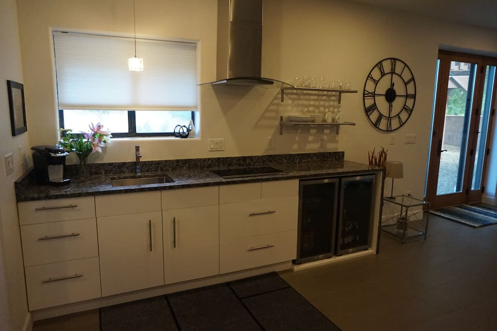 Kitchenette - 4 burner cook top and microwave. No oven